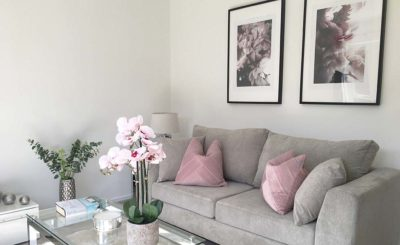 Lounge with pink accents